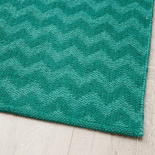 BREDEVAD Alfombra, motivo en zigzag verde, 75x150 cm