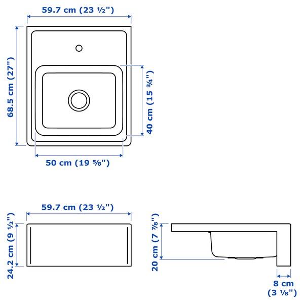 BREDSJÖN Vertedoiro fronte visto, ac inox, 60x69 cm