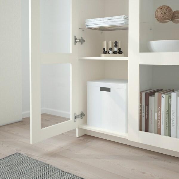 BRIMNES Armario con portas, vidro/branco, 78x95 cm
