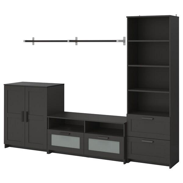 BRIMNES / BERGSHULT Moble TV, negro, 258x41x190 cm