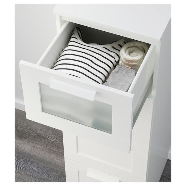 BRIMNES Cómoda de 4 caixóns, branco/vidro esmerilado, 39x124 cm
