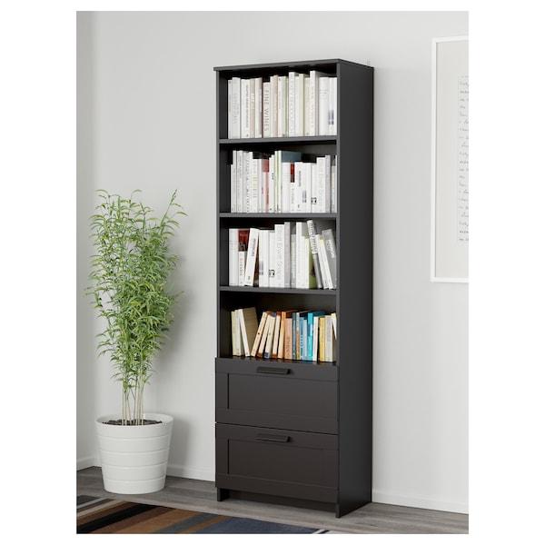BRIMNES Libraría, negro, 60x190 cm