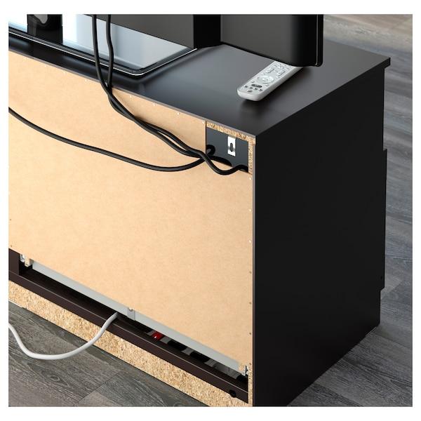 BRIMNES Moble TV portas vidro, negro, 320x41x190 cm