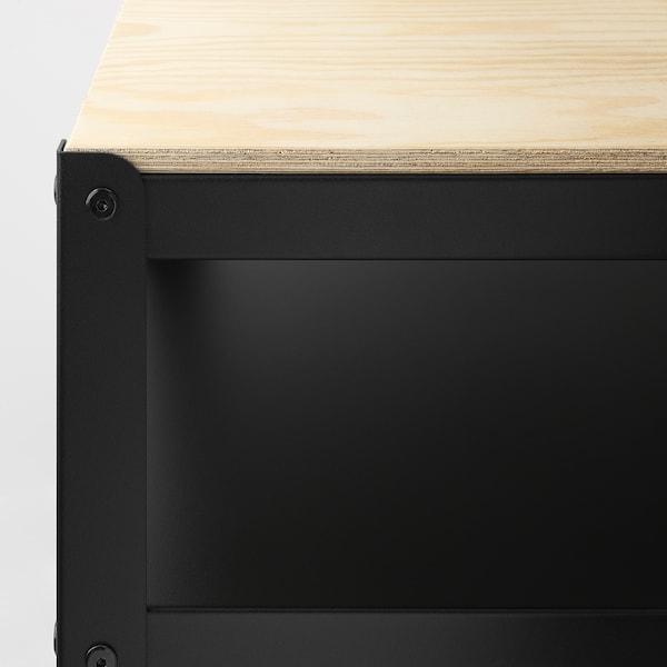 BROR Carriño, negro/contrachapado de piñeiro, 85x55 cm