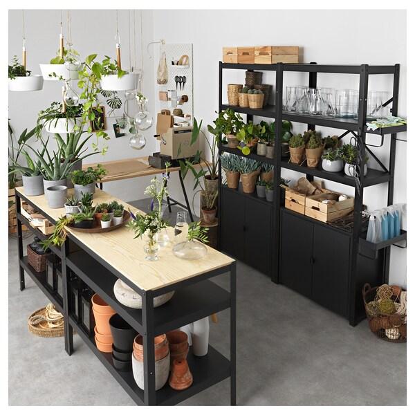 BROR Mesa de traballo, negro/contrachapado de piñeiro, 110x55 cm