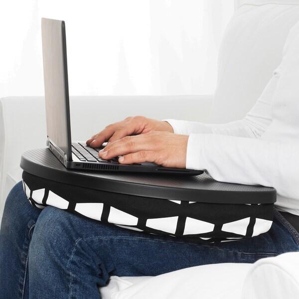 BYLLAN Soporte para ordenador portátil, Ebbarp negro/branco
