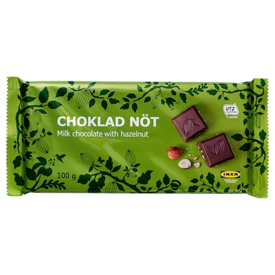 CHOKLAD NÖT Chocolate leite con abelás, certificado UTZ