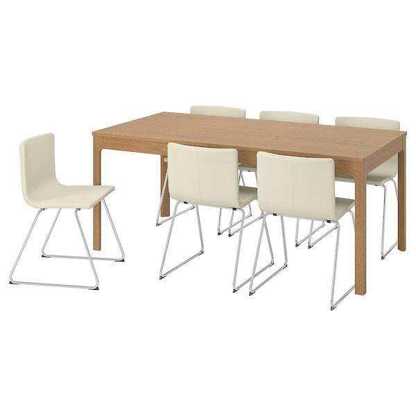 EKEDALEN / BERNHARD Mesa e 6 cads, carballo/Mjuk branco, 180/240 cm