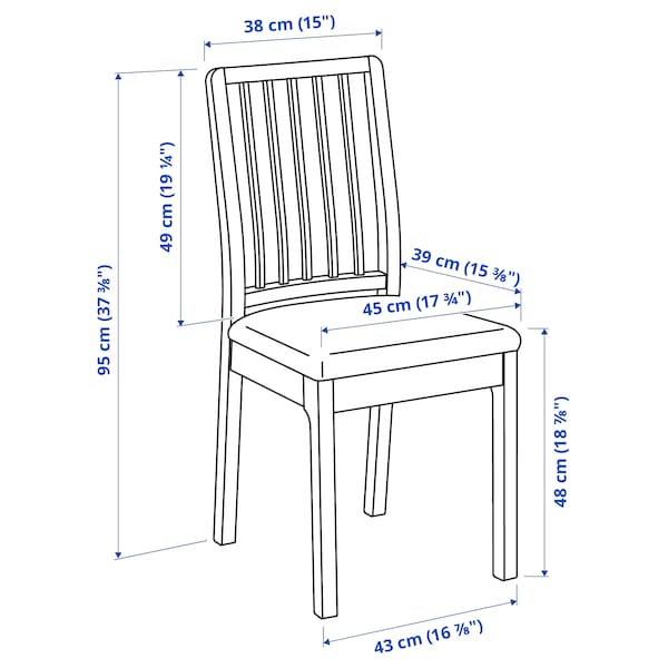 EKEDALEN Cadeira, marrón escuro/Orrsta gris claro