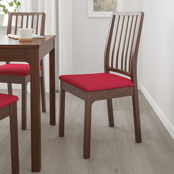 EKEDALEN Cadeira, marrón/Orrsta vermello