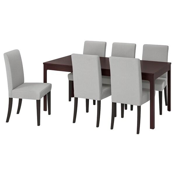 EKEDALEN / HENRIKSDAL Mesa e 6 cads, marrón escuro/Orrsta gris claro, 180/240 cm