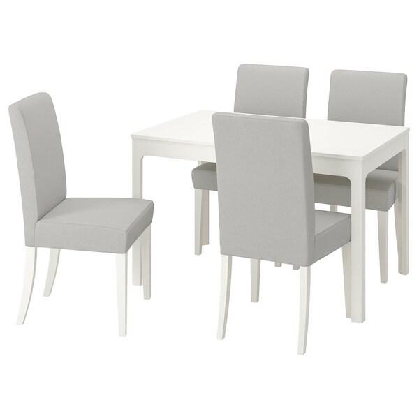 EKEDALEN / HENRIKSDAL Mesa con 4 cadeiras, branco/Orrsta gris claro, 120/180 cm