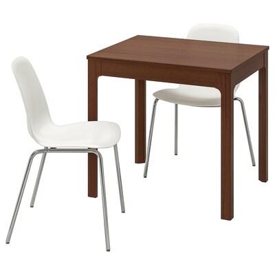 EKEDALEN / LEIFARNE Mesa e dúas cadeiras, marrón/branco, 80/120 cm