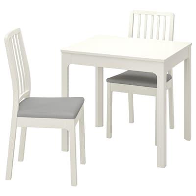 EKEDALEN Mesa e dúas cadeiras, branco/Orrsta gris claro, 80/120 cm