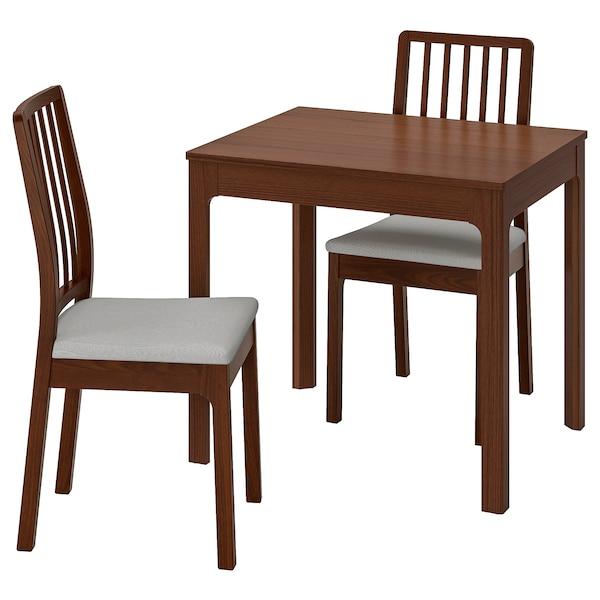 EKEDALEN / EKEDALEN Mesa e dúas cadeiras, marrón/Orrsta gris claro, 80/120 cm