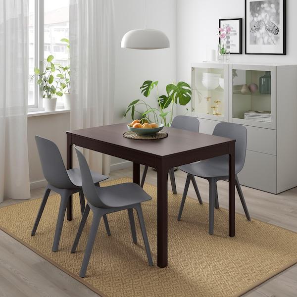 EKEDALEN / ODGER Mesa con 4 cadeiras, marrón escuro/azul, 120/180 cm