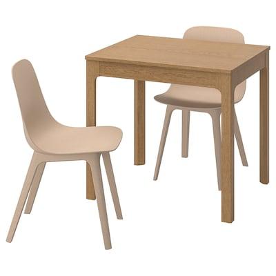 EKEDALEN / ODGER Mesa e dúas cadeiras, carballo/branco beixe, 80/120 cm
