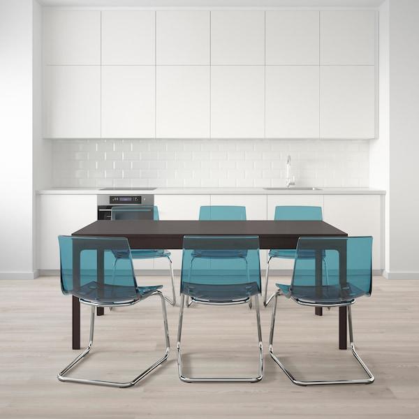 EKEDALEN / TOBIAS Mesa e 6 cads, marrón escuro/azul, 180/240 cm