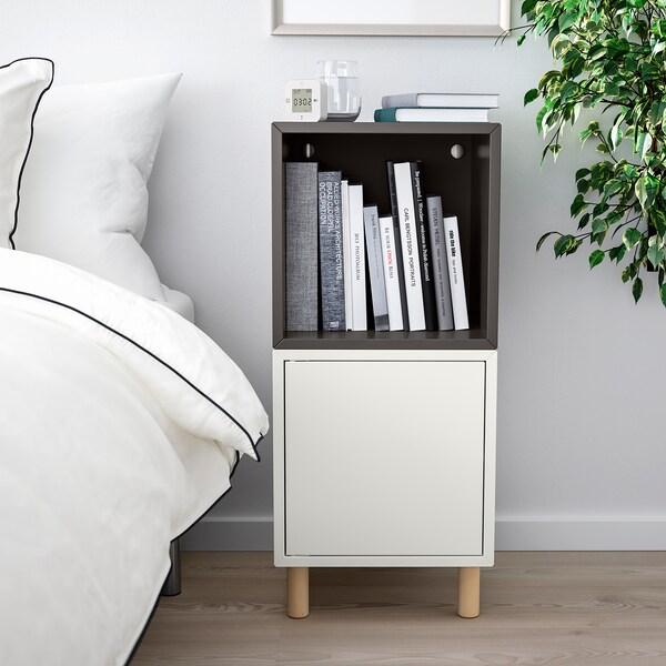 EKET Combinación armario+patas, branco gris escuro/madeira, 35x35x80 cm