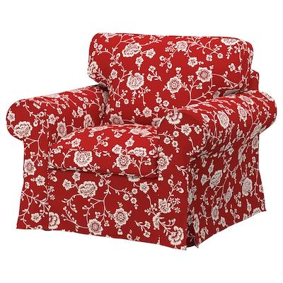 EKTORP Cadeira de brazos, Virestad vermello/branco