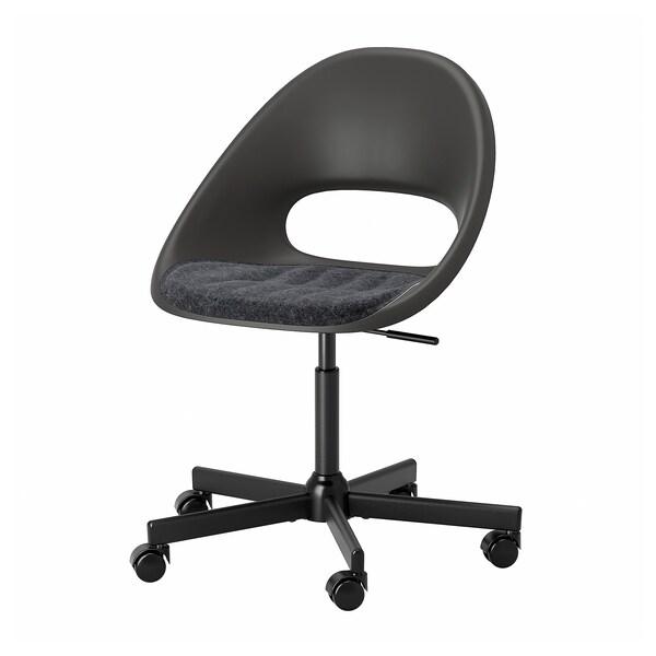 ELDBERGET / MALSKÄR Cadeira xiratoria con coxín, negro/gris escuro