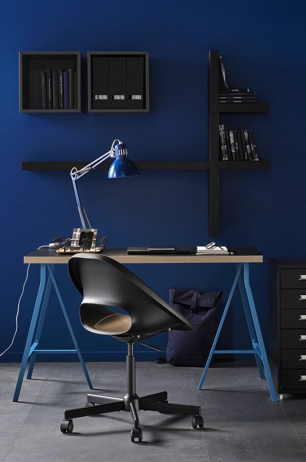 ELDBERGET / MALSKÄR Cadeira xiratoria, negro