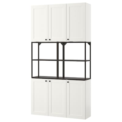 ENHET Combi almacenaxe parede, antracita/branco estrutura, 120x30x225 cm