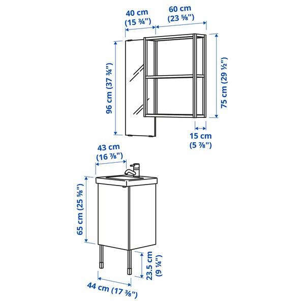 ENHET / TVÄLLEN Mobles baño x10, efecto cemento/branco Pilkån billa, 44x43x87 cm