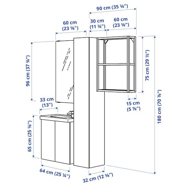 ENHET / TVÄLLEN Mobles baño x13, efecto cemento/branco Pilkån billa, 64x33x65 cm