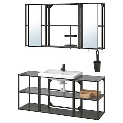 ENHET / TVÄLLEN Mobles baño x17, antracita/billa SALJEN, 140x43x65 cm