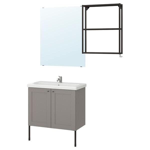 ENHET / TVÄLLEN Mobles baños x11, gris estrutura/antracita Lillsvan billa, 84x43x87 cm