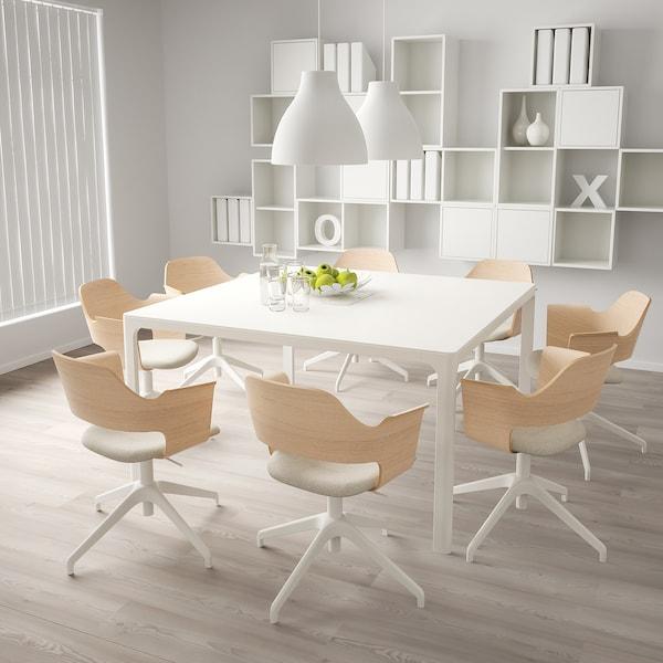 FJÄLLBERGET Cadeira sala de xuntas, chapa carballo tintura branca/Gunnared beixe