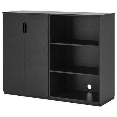 GALANT Combinación de armario e estante, chapa freixo c/ tintura negra, 160x120 cm