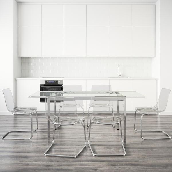 GLIVARP / TOBIAS Mesa e 6 cads, transparente/transparente, 188 cm