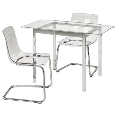 GLIVARP / TOBIAS Mesa e dúas cadeiras, transparente/cromado transparente, 75 cm