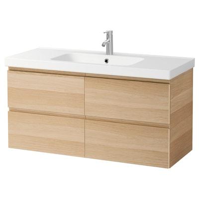GODMORGON / ODENSVIK Armario lavabo 4caixións, efecto carballo tintura branca/Dalskär billa, 123x49x64 cm