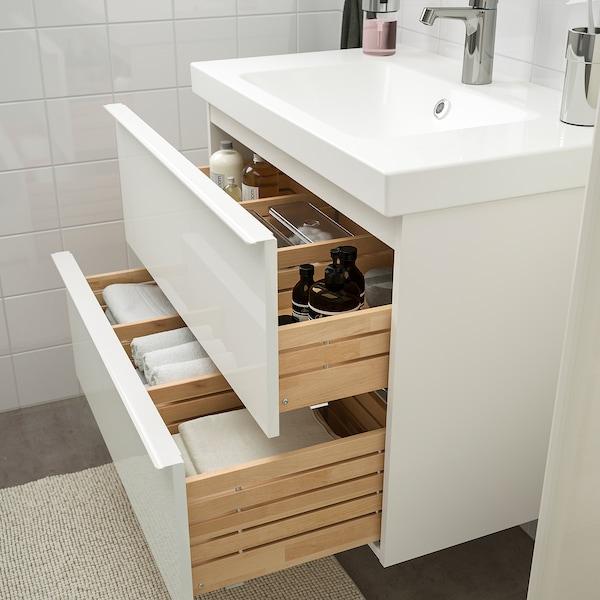 GODMORGON / ODENSVIK Mobles de baño x5, alto brillo branco/billa Brogrund, 83 cm