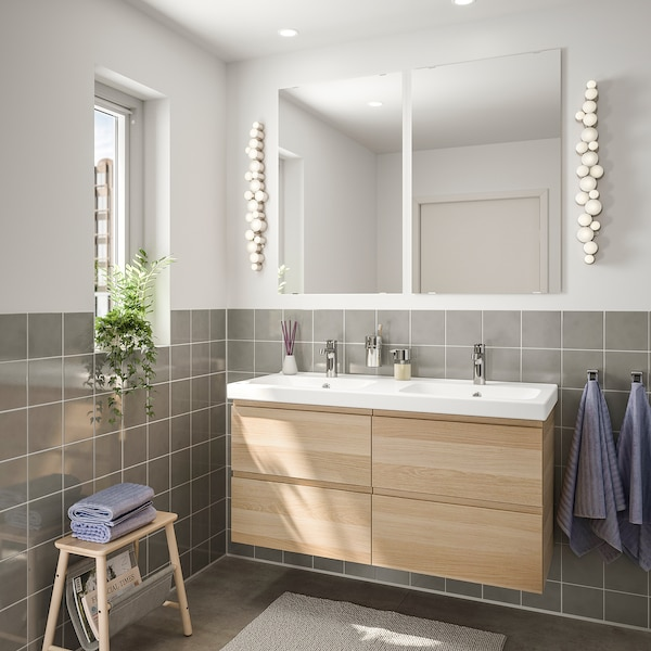 GODMORGON / ODENSVIK Mobles de baño x6, efecto carballo tintura branca/billa Brogrund, 123 cm