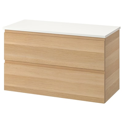 GODMORGON / TOLKEN Armario lavabo 2 caixóns, efecto carballo tintura branca/branco, 102x49x60 cm