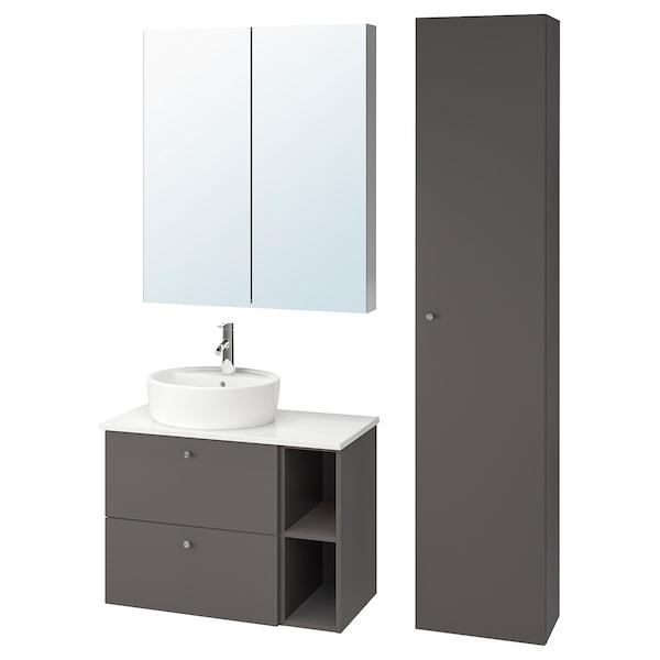 GODMORGON/TOLKEN / TÖRNVIKEN Mobles de baño x7, Gillburen gris escuro/efecto mármore Dalskär billa, 82x49x74 cm