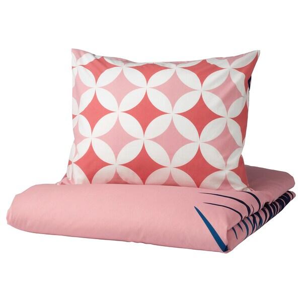 GRACIÖS Funda nórd e funda para almofada, efecto azulexo/rosa, 150x200/50x60 cm