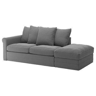 GRÖNLID Sofá cama 3 prazas, +extremo aberto/Ljungen gris