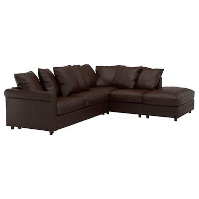 GRÖNLID Sofá cama esquina 4, +extremo aberto/Kimstad marrón escuro