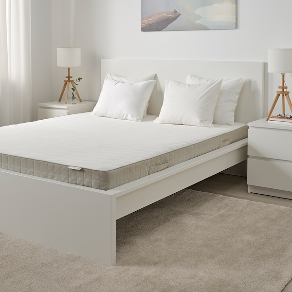 HAFSLO Colchón de resortes, extra firme/beixe, 160x200 cm