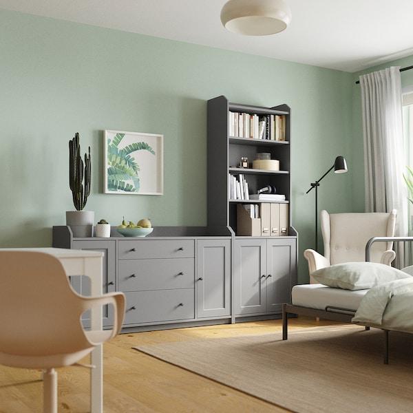 HAUGA Combinación de armario e estante, gris, 210x46x199 cm