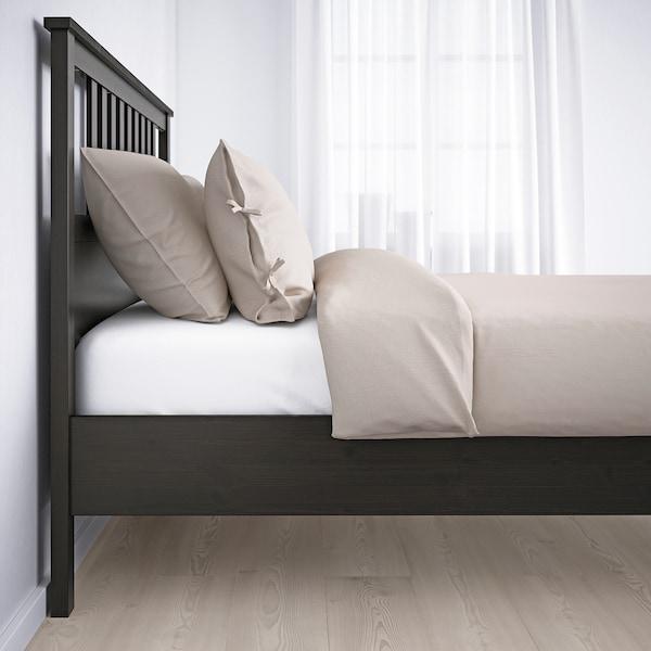 HEMNES Estrutura cama, negro-marrón, 90x200 cm