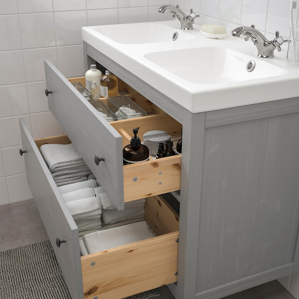 HEMNES / ODENSVIK Armario lavabo 2 caixóns, gris/Runskär billa, 103x49x89 cm