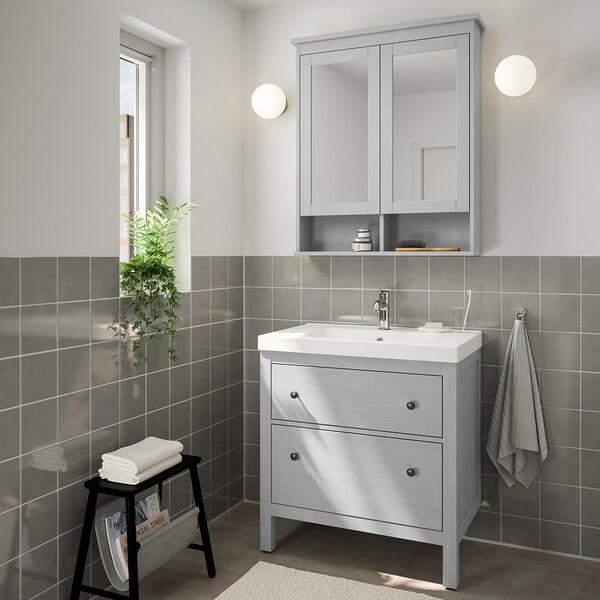 HEMNES / ODENSVIK Mobles baño x4, gris/Voxnan billa, 83 cm