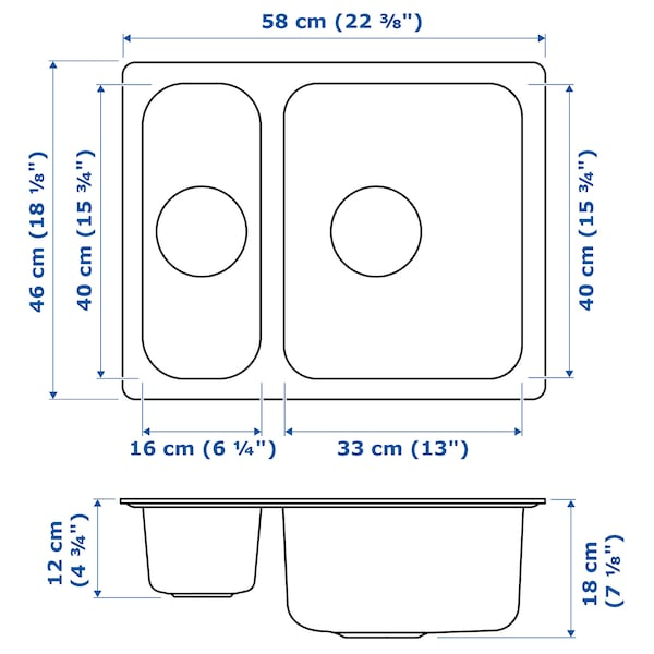 HILLESJÖN Vertedoiro 1½ seos, ac inox, 58x46 cm
