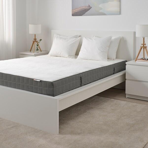 HÖVÅG Colchón resortes ensacados, extra firme/gris escuro, 150x190 cm